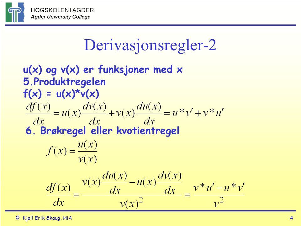Derivasjonsregler-2 u(x) og v(x) er funksjoner med x 5.Produktregelen