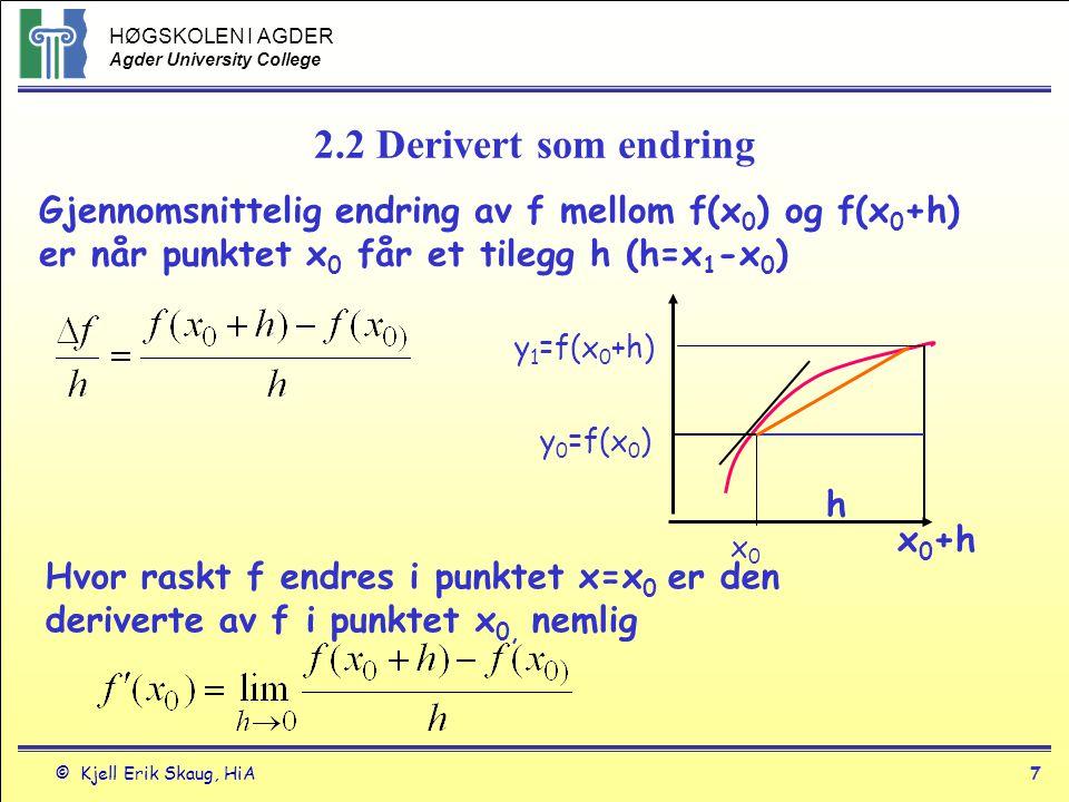 2.2 Derivert som endring Gjennomsnittelig endring av f mellom f(x0) og f(x0+h) er når punktet x0 får et tilegg h (h=x1-x0)