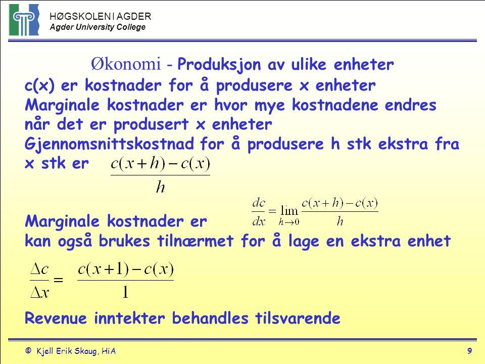 Økonomi - Produksjon av ulike enheter