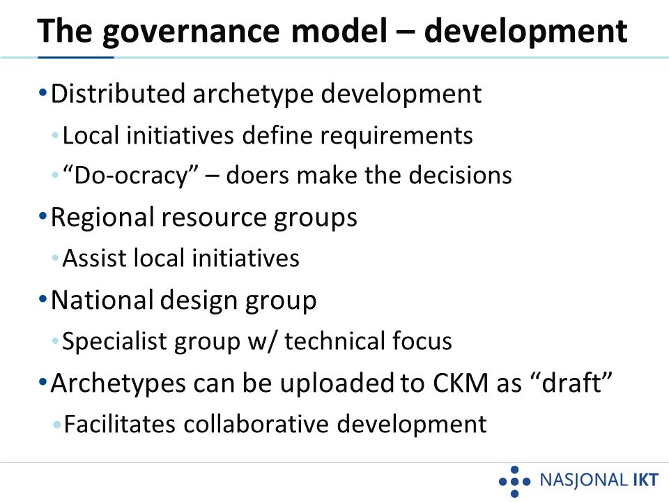 The governance model – development