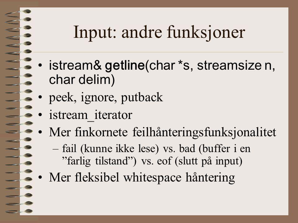 Input: andre funksjoner
