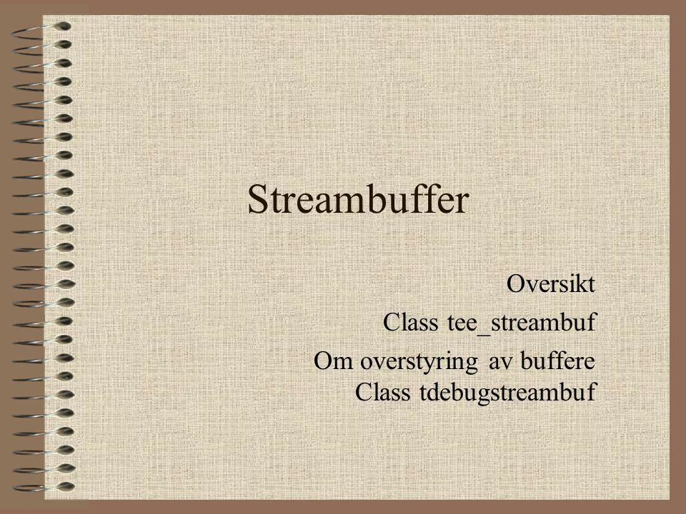 Streambuffer Oversikt Class tee_streambuf