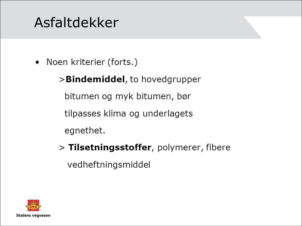 Asfaltdekker Noen kriterier (forts.) >Bindemiddel, to hovedgrupper