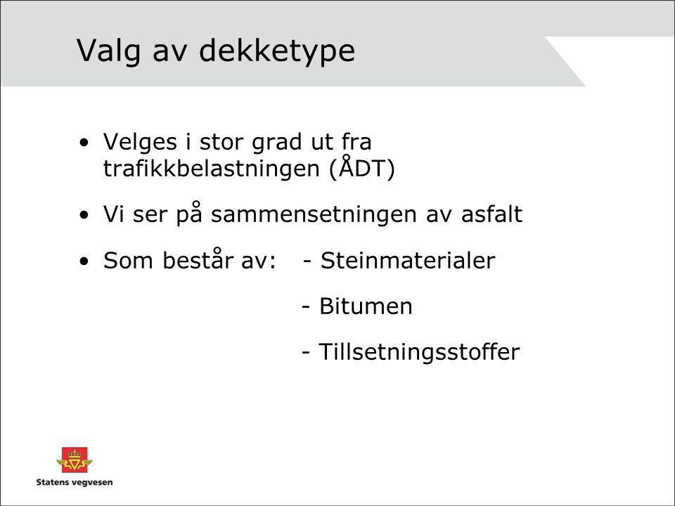 Valg av dekketype Velges i stor grad ut fra trafikkbelastningen (ÅDT)
