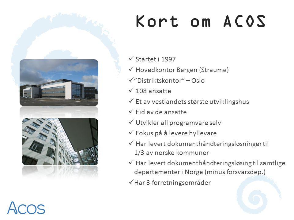 Kort om ACOS Startet i 1997 Hovedkontor Bergen (Straume)