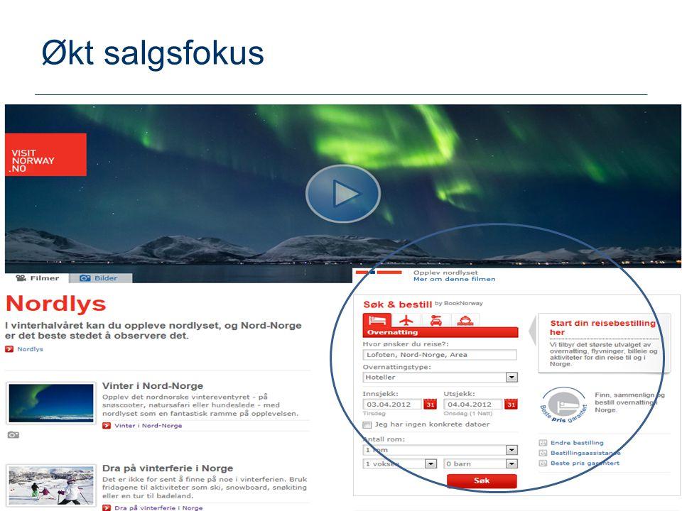 Økt salgsfokus God og sentral plassering på Visit Norway.