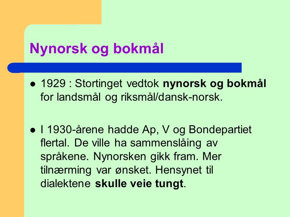 Nynorsk og bokmål 1929 : Stortinget vedtok nynorsk og bokmål for landsmål og riksmål/dansk-norsk.