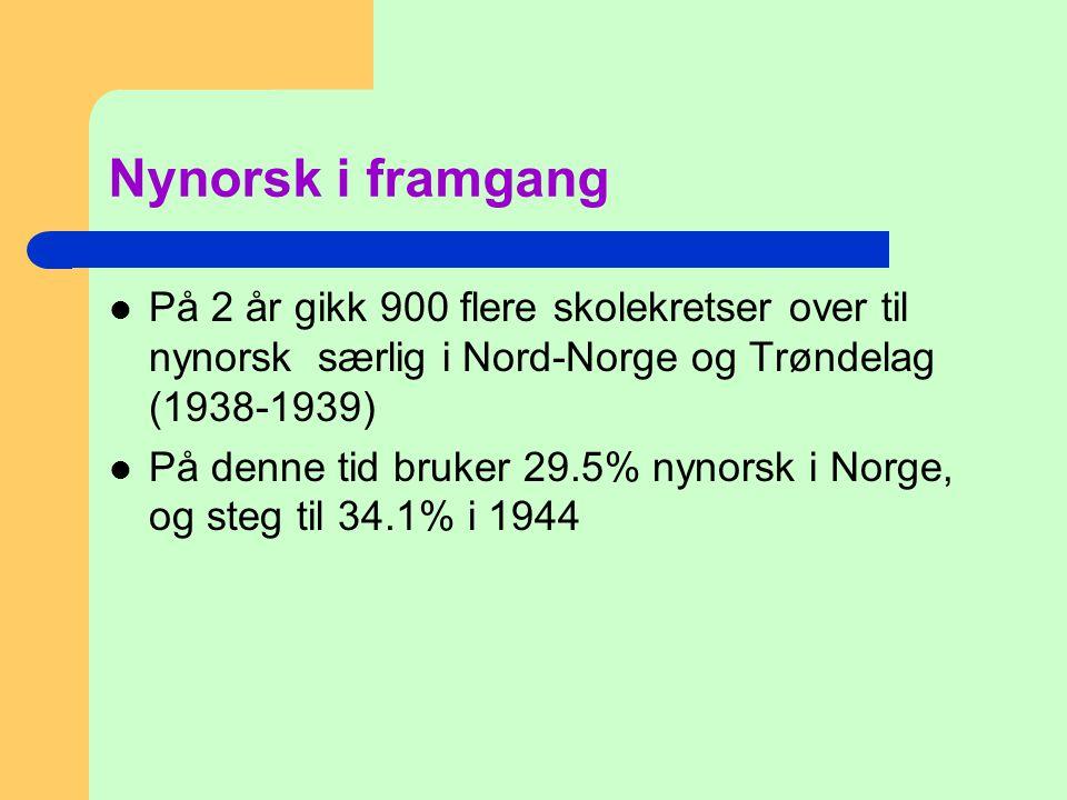 Nynorsk i framgang På 2 år gikk 900 flere skolekretser over til nynorsk særlig i Nord-Norge og Trøndelag (1938-1939)