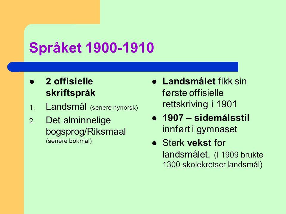 Språket 1900-1910 2 offisielle skriftspråk Landsmål (senere nynorsk)