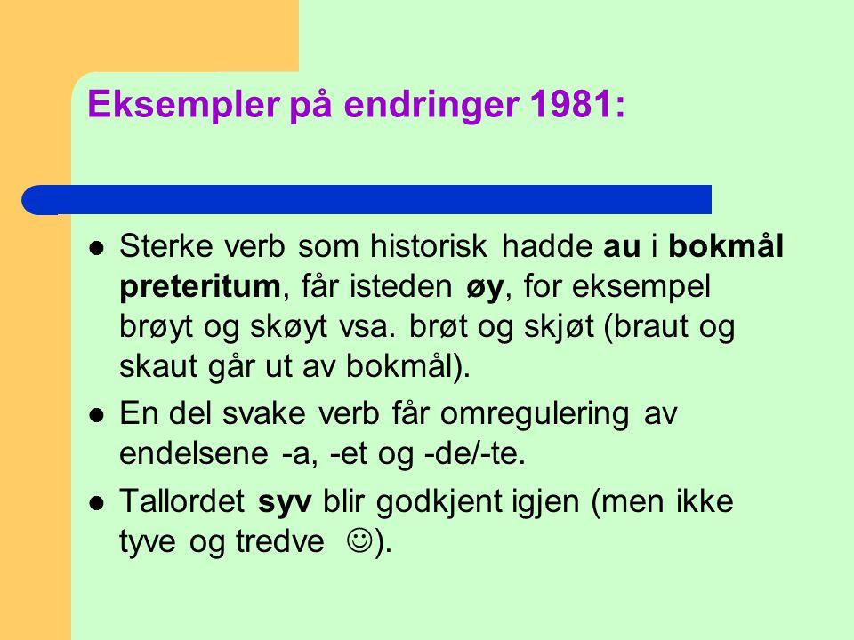 Eksempler på endringer 1981:
