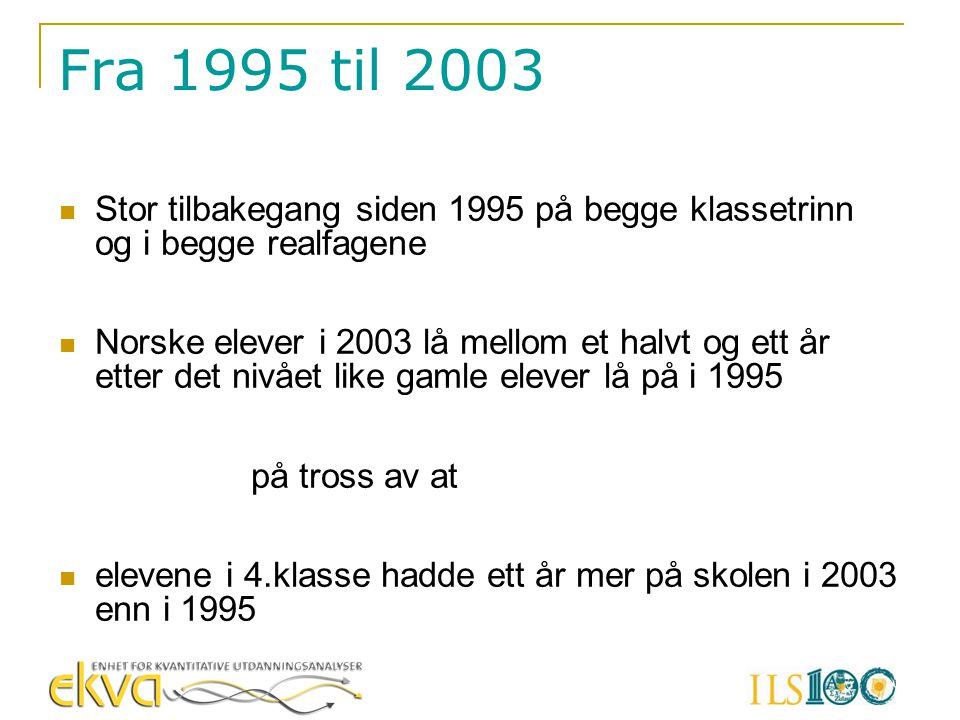Fra 1995 til 2003 Stor tilbakegang siden 1995 på begge klassetrinn og i begge realfagene.