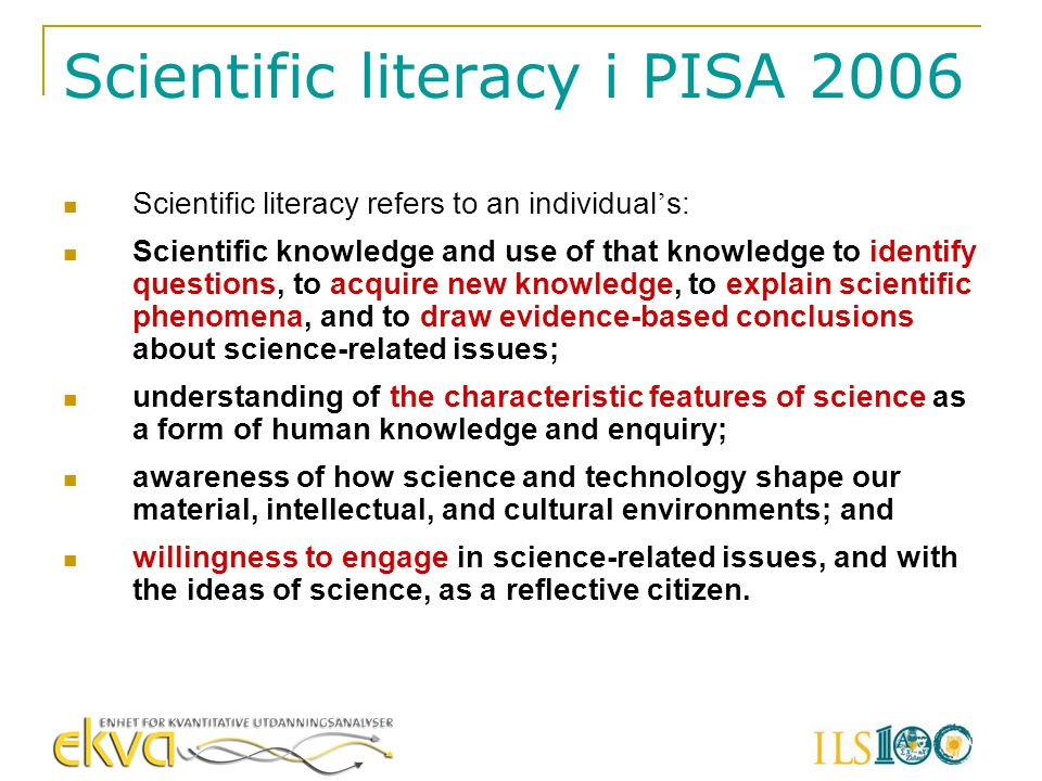 Scientific literacy i PISA 2006