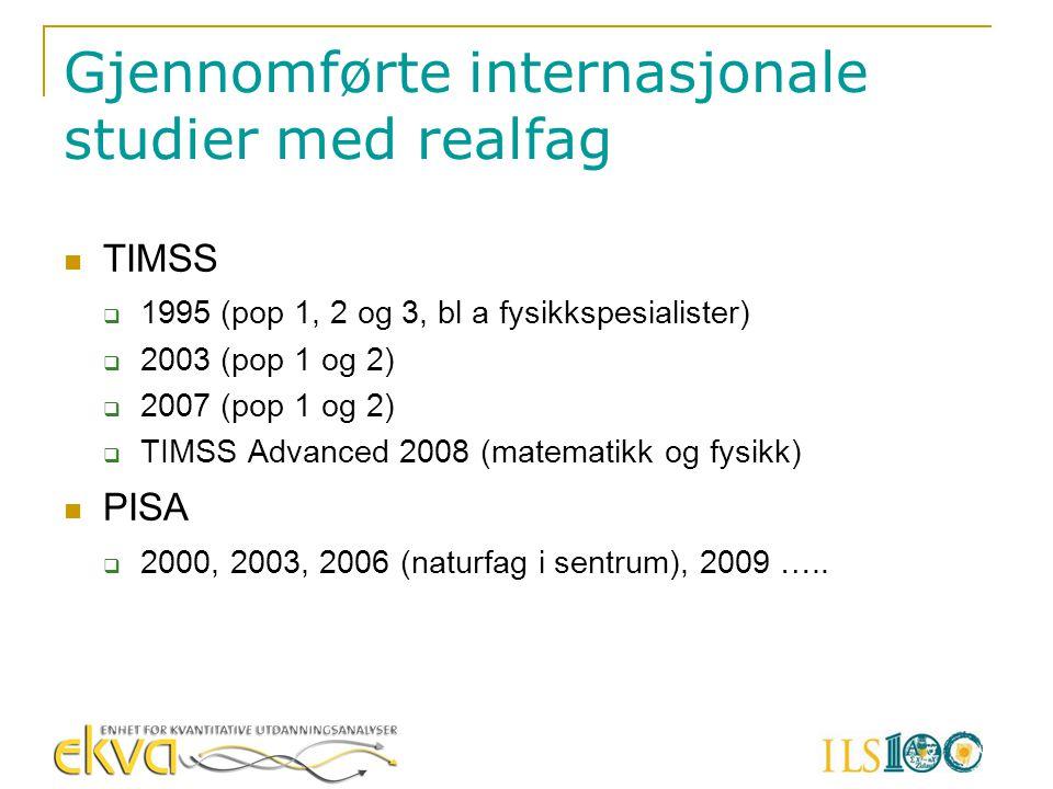 Gjennomførte internasjonale studier med realfag