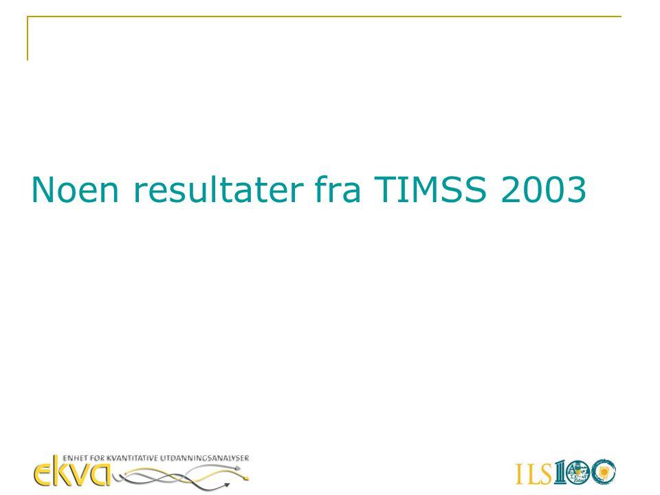 Noen resultater fra TIMSS 2003