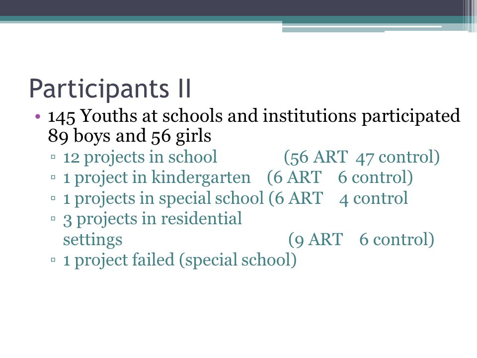 Participants II 145 Youths at schools and institutions participated 89 boys and 56 girls. 12 projects in school (56 ART 47 control)