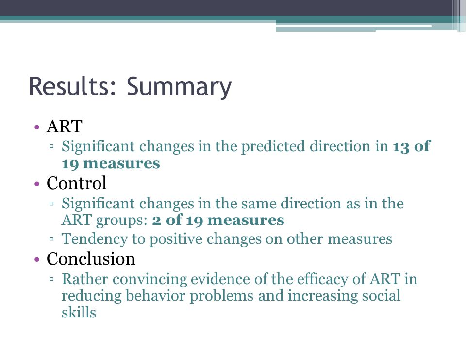 Results: Summary ART Control Conclusion