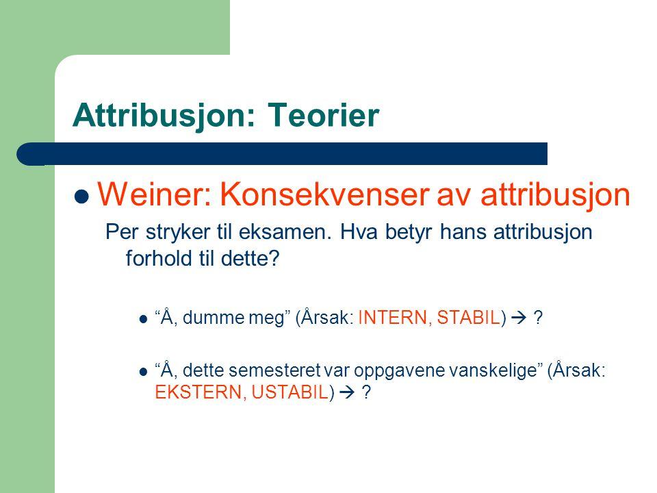 Weiner: Konsekvenser av attribusjon