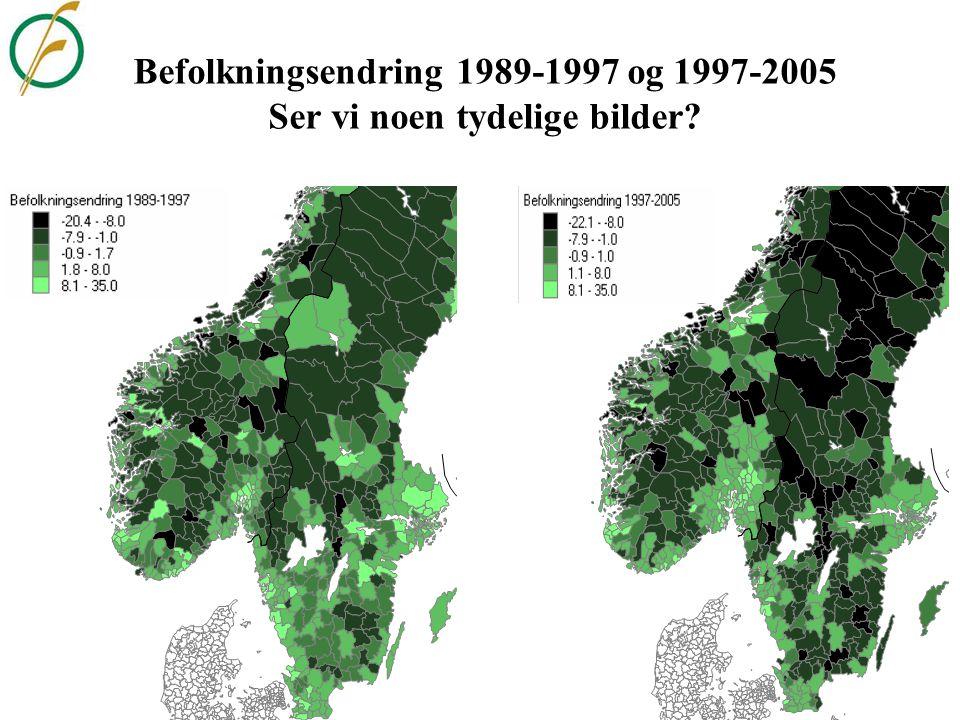 Befolkningsendring 1989-1997 og 1997-2005 Ser vi noen tydelige bilder