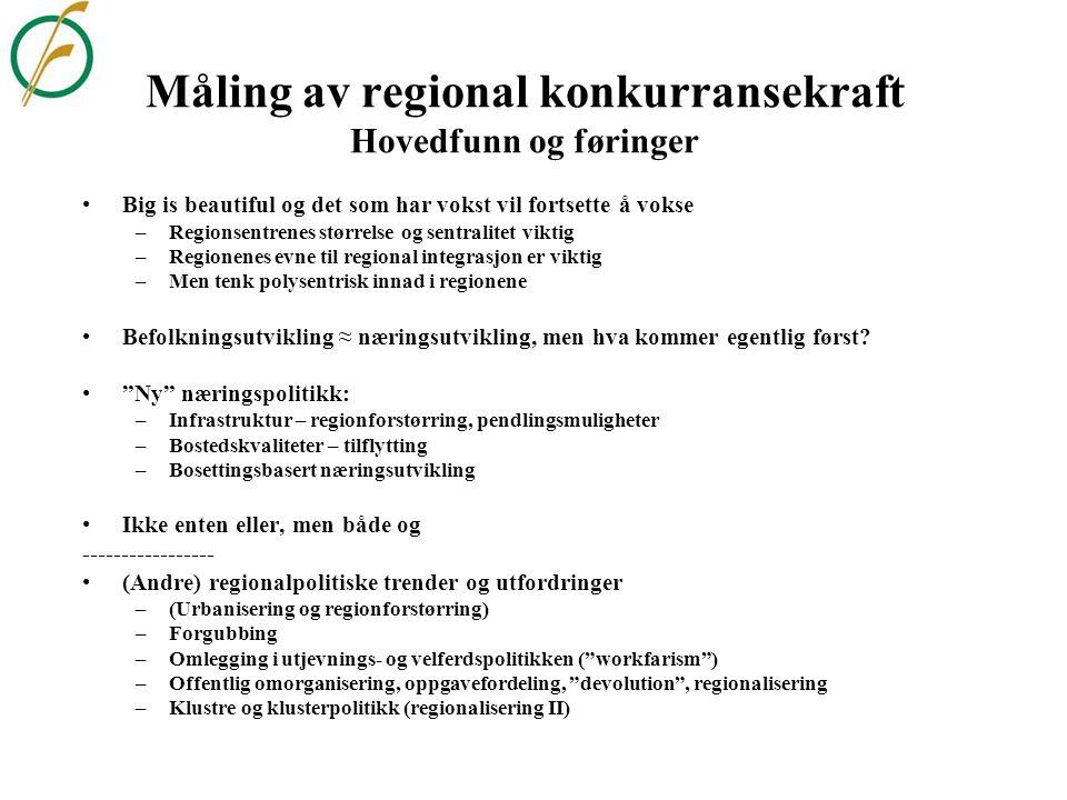 Måling av regional konkurransekraft Hovedfunn og føringer