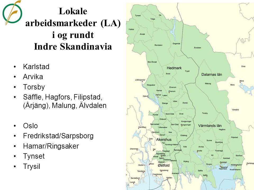 Lokale arbeidsmarkeder (LA) i og rundt Indre Skandinavia