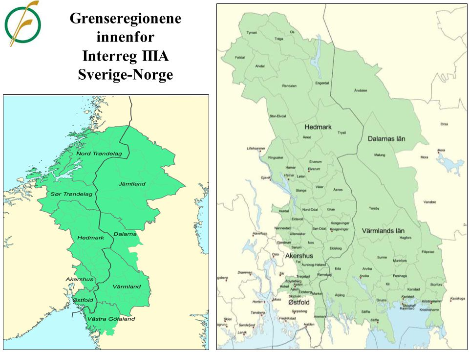 Grenseregionene innenfor Interreg IIIA Sverige-Norge