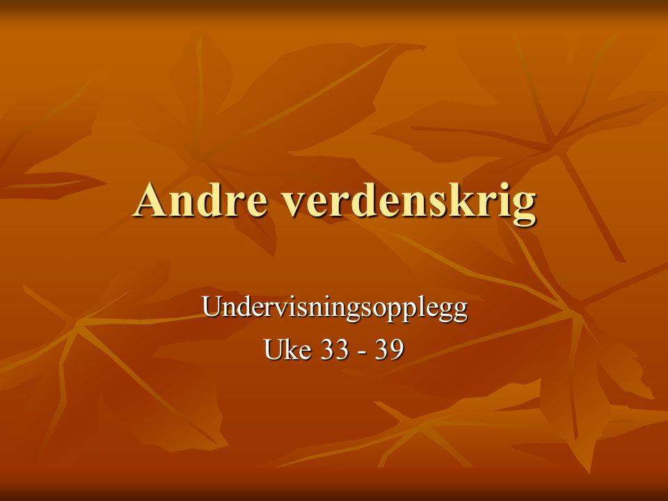 Undervisningsopplegg Uke 33 - 39