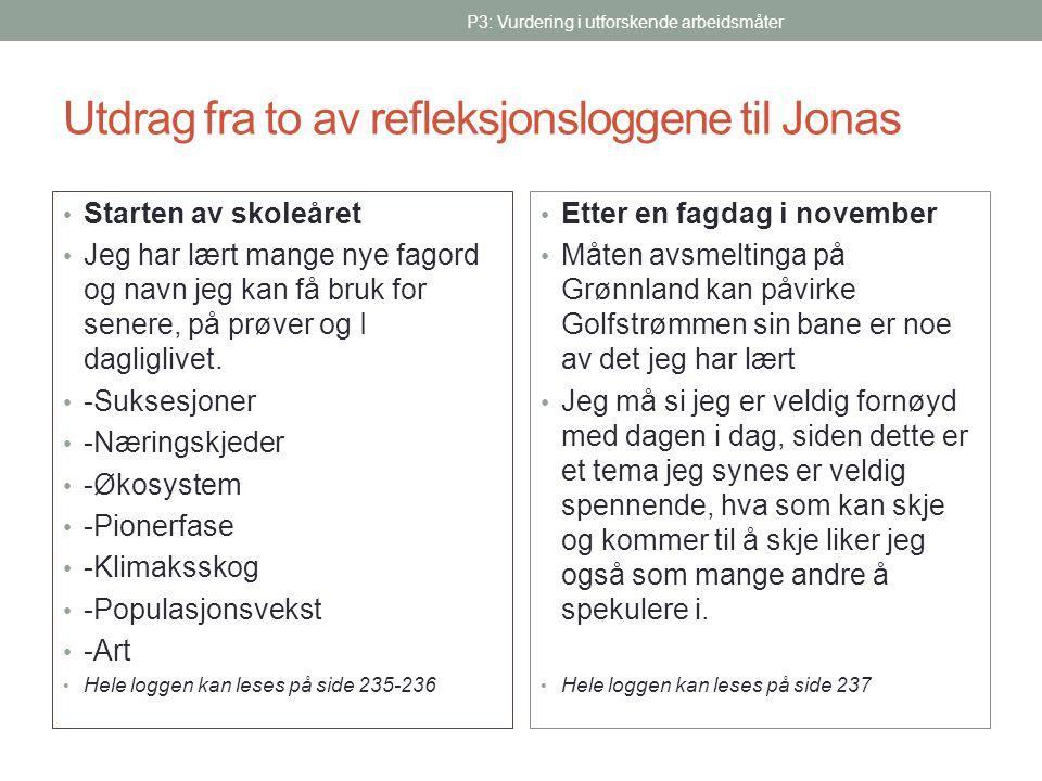 Utdrag fra to av refleksjonsloggene til Jonas