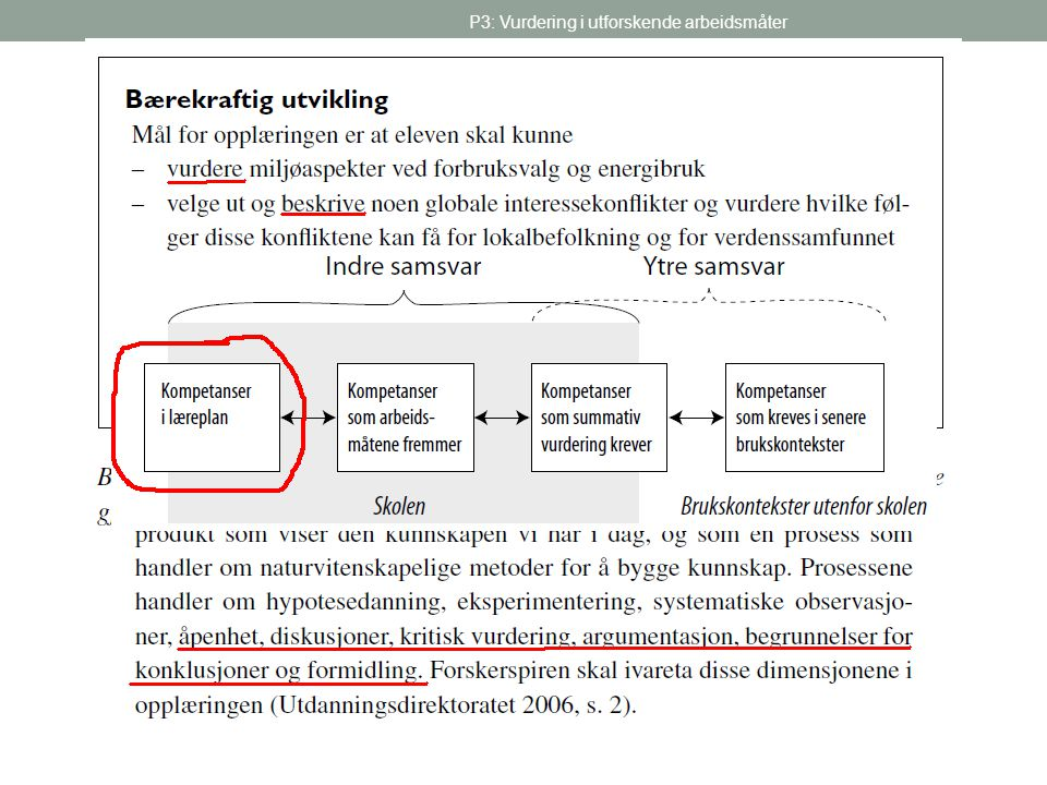 P3: Vurdering i utforskende arbeidsmåter