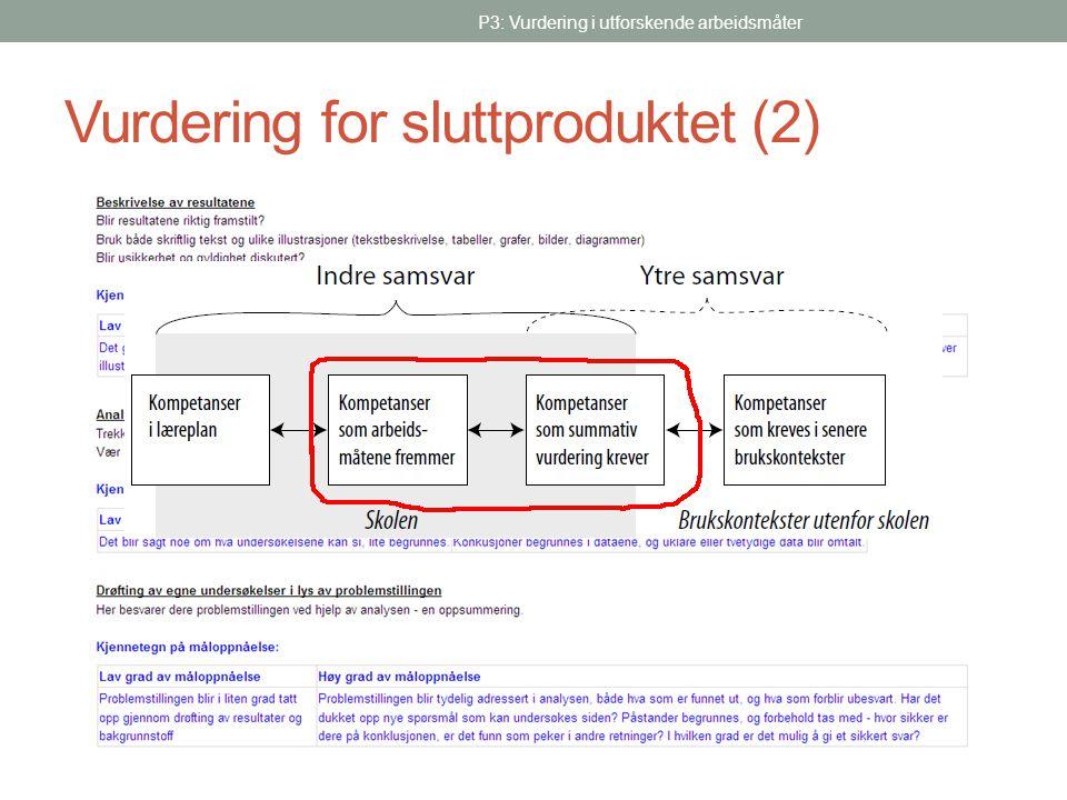Vurdering for sluttproduktet (2)