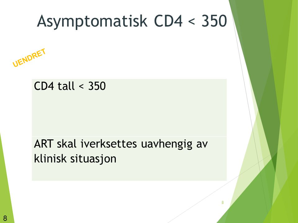 Asymptomatisk CD4 < 350 CD4 tall < 350
