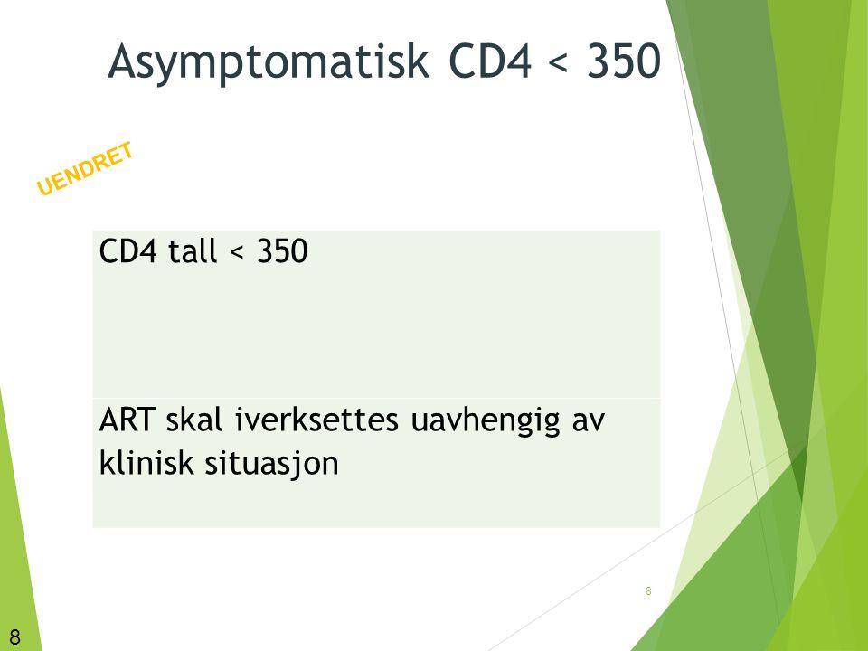 Asymptomatisk CD4 < 350 CD4 tall < 350