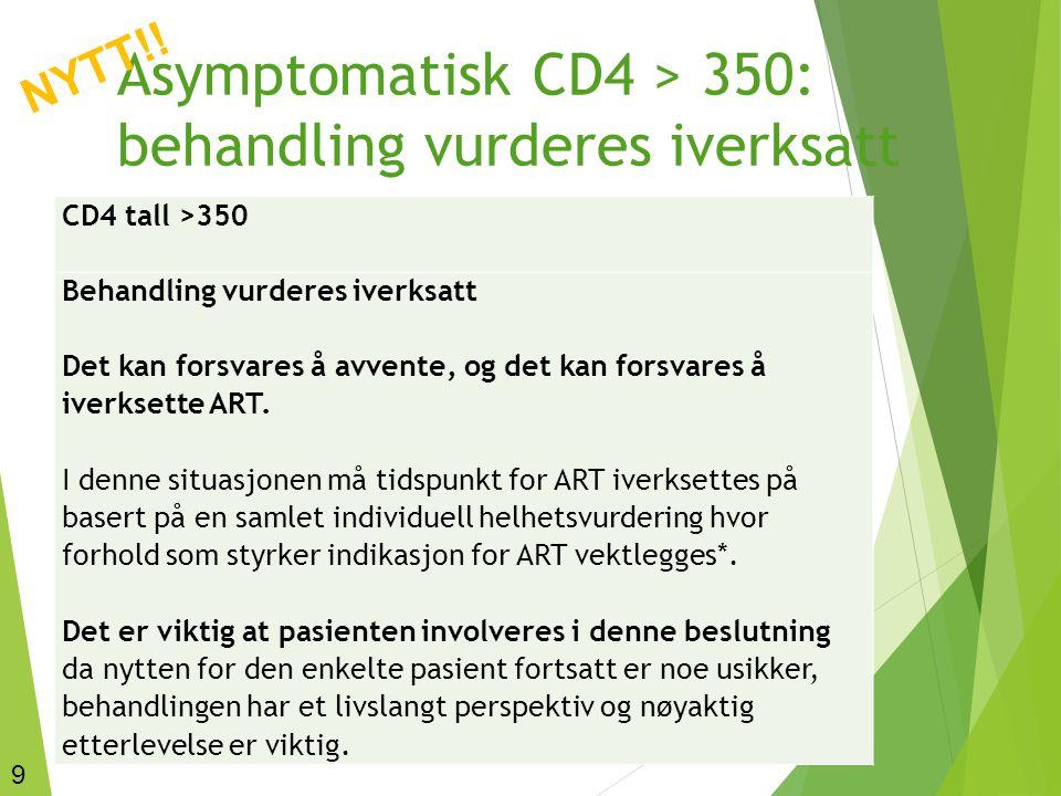 Asymptomatisk CD4 > 350: behandling vurderes iverksatt