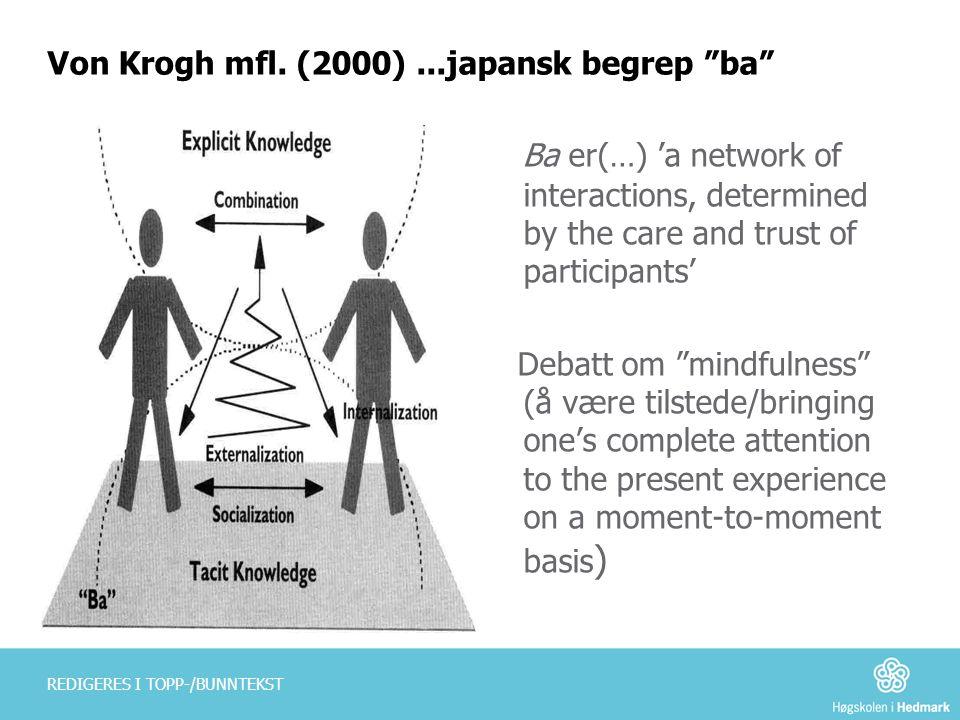 Von Krogh mfl. (2000) ...japansk begrep ba