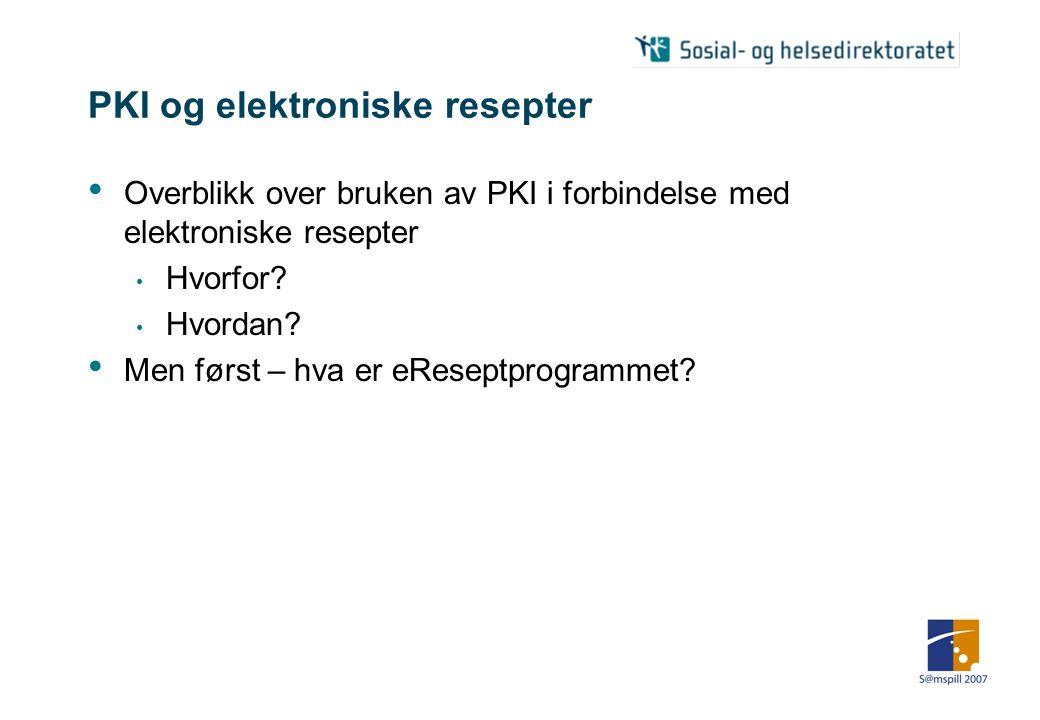 Bruk av PKI på elektroniske resepter Jon Hareide Aarbakke Systemarkitekt eReseptprogrammet