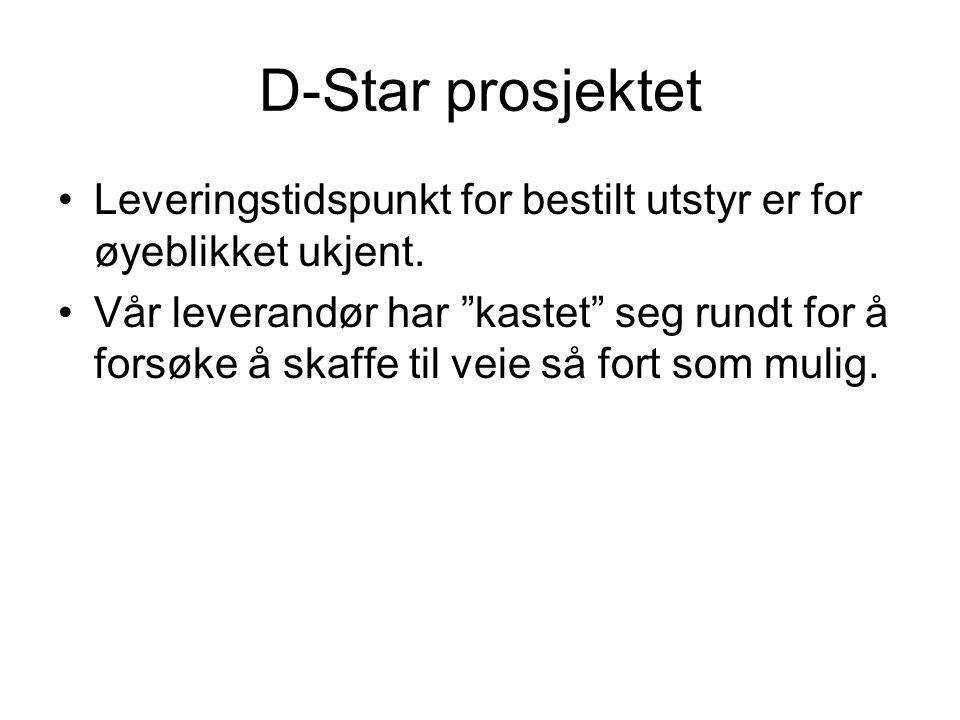 D-Star prosjektet Leveringstidspunkt for bestilt utstyr er for øyeblikket ukjent.