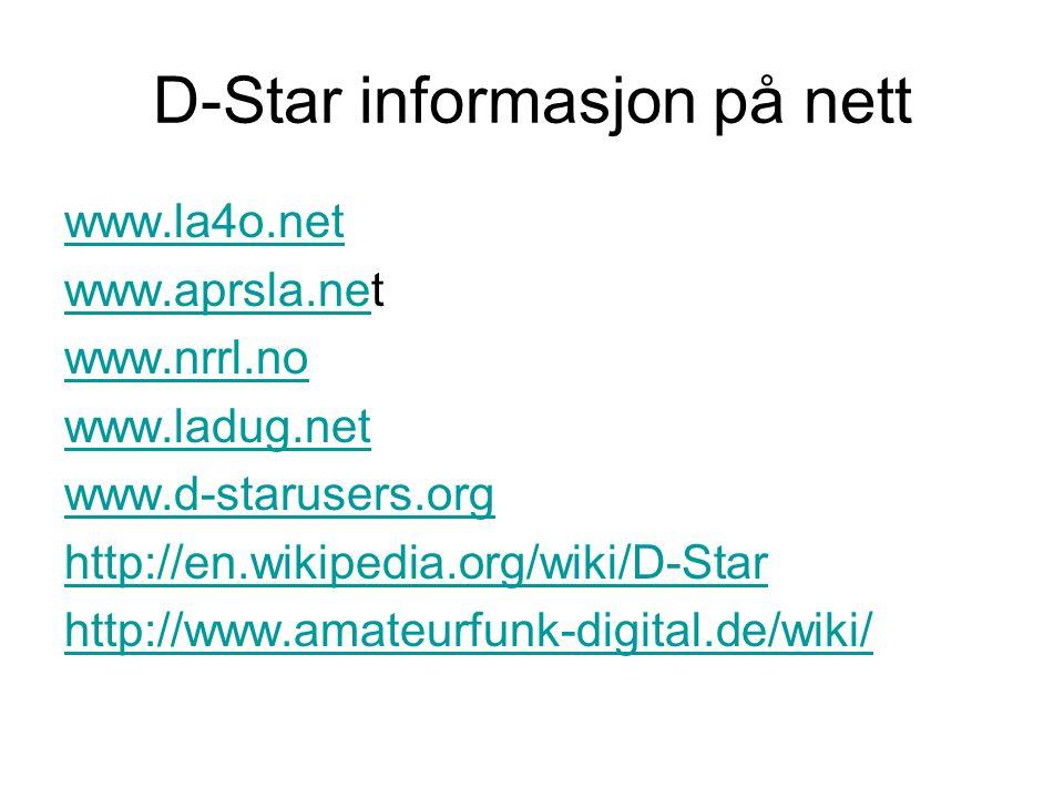 D-Star informasjon på nett