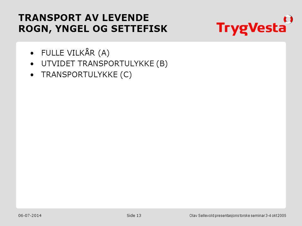 TRANSPORT AV LEVENDE ROGN, YNGEL OG SETTEFISK