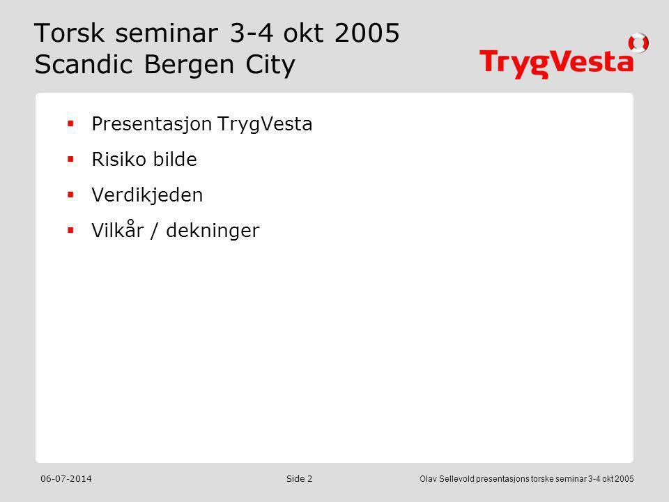 Torsk seminar 3-4 okt 2005 Scandic Bergen City