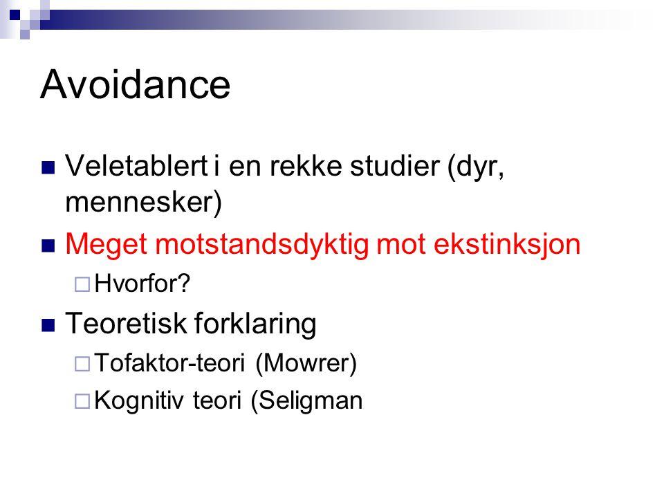 Avoidance Veletablert i en rekke studier (dyr, mennesker)