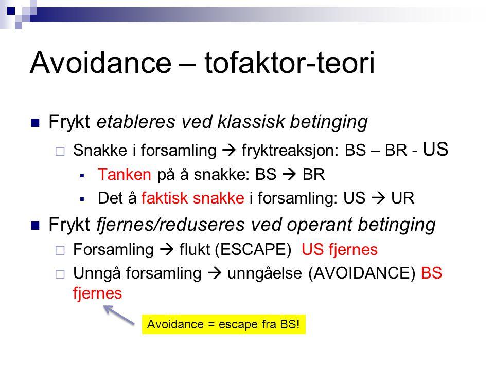 Avoidance – tofaktor-teori