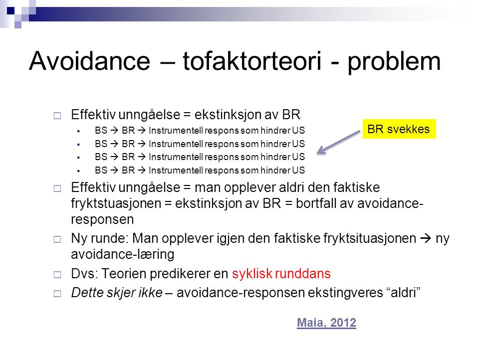 Avoidance – tofaktorteori - problem