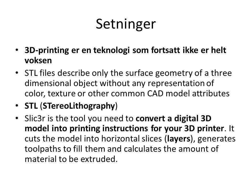 Setninger 3D-printing er en teknologi som fortsatt ikke er helt voksen