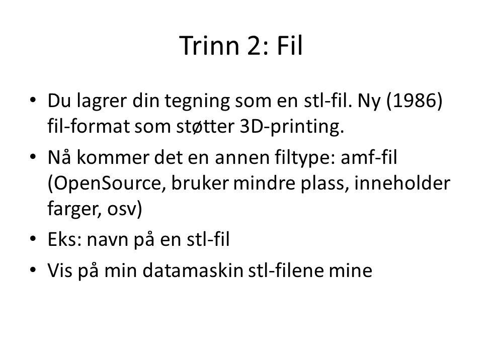 Trinn 2: Fil Du lagrer din tegning som en stl-fil. Ny (1986) fil-format som støtter 3D-printing.