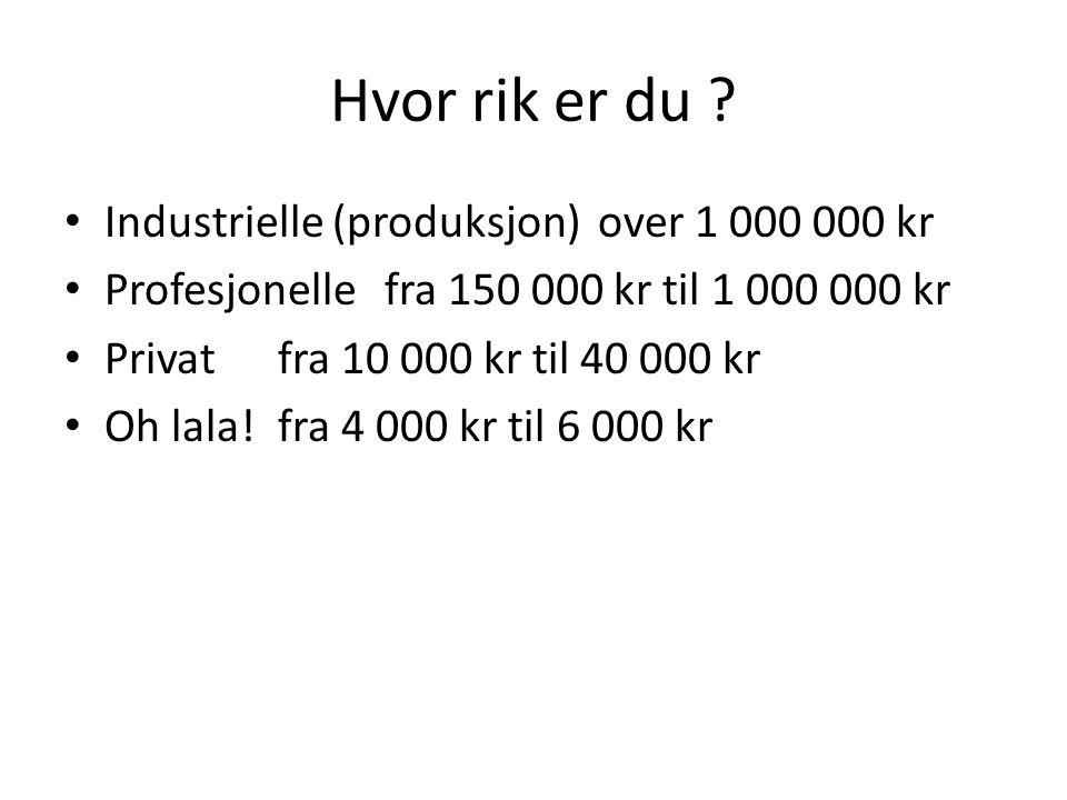 Hvor rik er du Industrielle (produksjon) over 1 000 000 kr