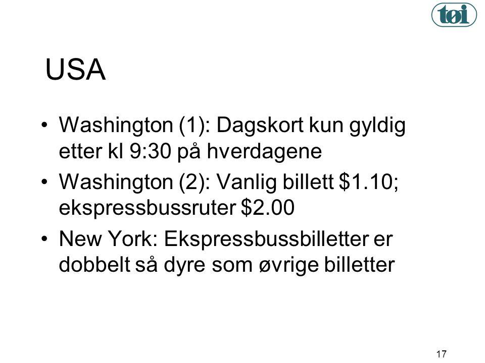 USA Washington (1): Dagskort kun gyldig etter kl 9:30 på hverdagene