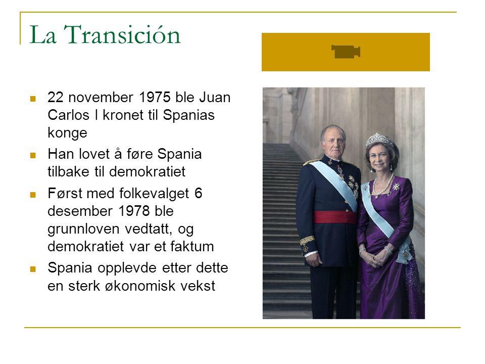 La Transición 22 november 1975 ble Juan Carlos I kronet til Spanias konge. Han lovet å føre Spania tilbake til demokratiet.