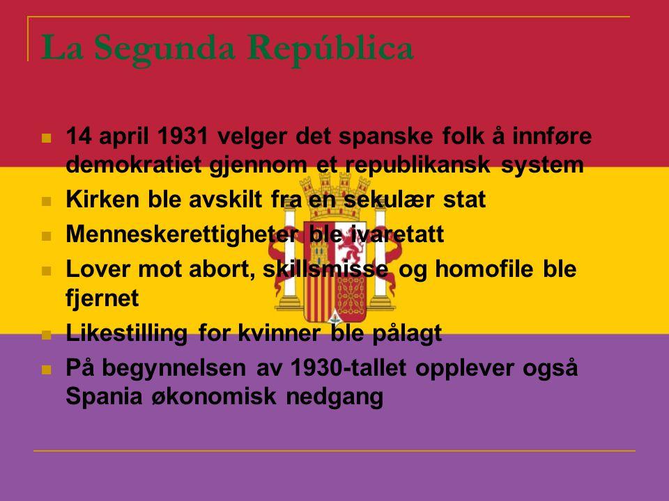 La Segunda República 14 april 1931 velger det spanske folk å innføre demokratiet gjennom et republikansk system.
