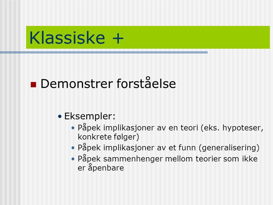 Klassiske + Demonstrer forståelse Eksempler: