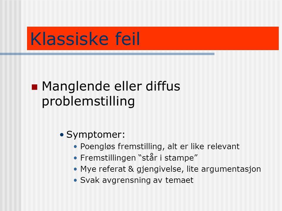 Klassiske feil Manglende eller diffus problemstilling Symptomer: