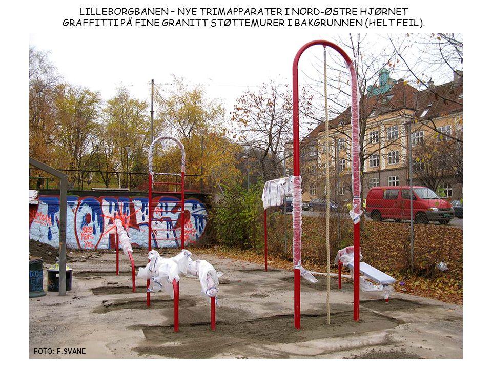 LILLEBORGBANEN – NYE TRIMAPPARATER I NORD-ØSTRE HJØRNET GRAFFITTI PÅ FINE GRANITT STØTTEMURER I BAKGRUNNEN (HELT FEIL).